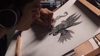 Aztec Tattoo Drawing (Huitzilopochtli)