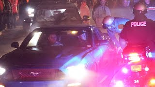 COPS vs Mustang - Mustang Does Massive Burnout in Front of Cops