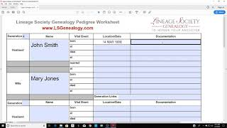 Starting A Lineage Society Application  Using A Lineage Or Pedigree Worksheet