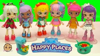 Full Set of 6 Shoppies Mini Dolls with Exclusive Happy Places Shopkins  - Toys