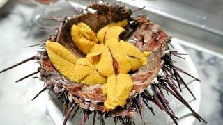 Eating LIVE Sea Urchin - Off The Street! (Uni Sashimi)
