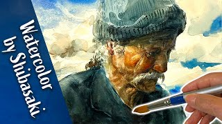 [ Eng sub ] Watercolor painting of a man | Watercolor Tips 水彩画の基本 男性の顔を描くコツ