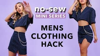 DIY *NO-SEW* SERIES: Mens Button-up Clothing Hack!