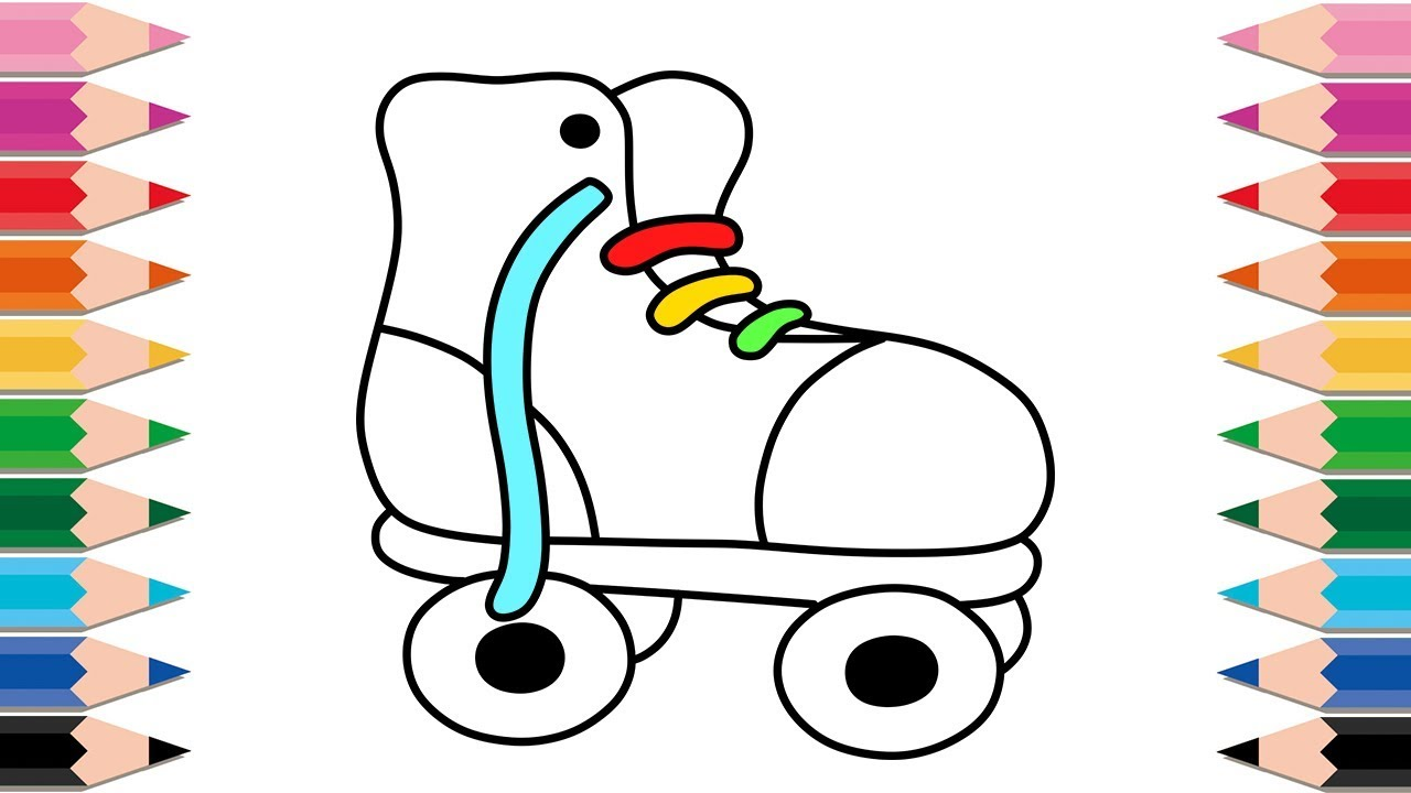 How to Draw ROLLER SKATES for Kids Drawing and Coloring Pages Learn Colors for Kids and Toddlers