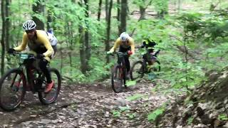 Riders in the Wilmington Whiteface 100 race on the course in Blueberry Hill trail system in Elizabethtown NY.