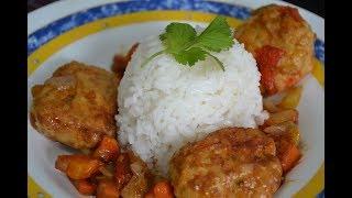 Nueva Receta: Albóndigas de Pollo con arroz Blanco
