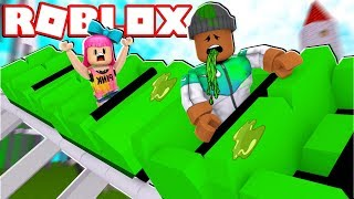 RIDING A ROLLER COASTER IN ROBLOX