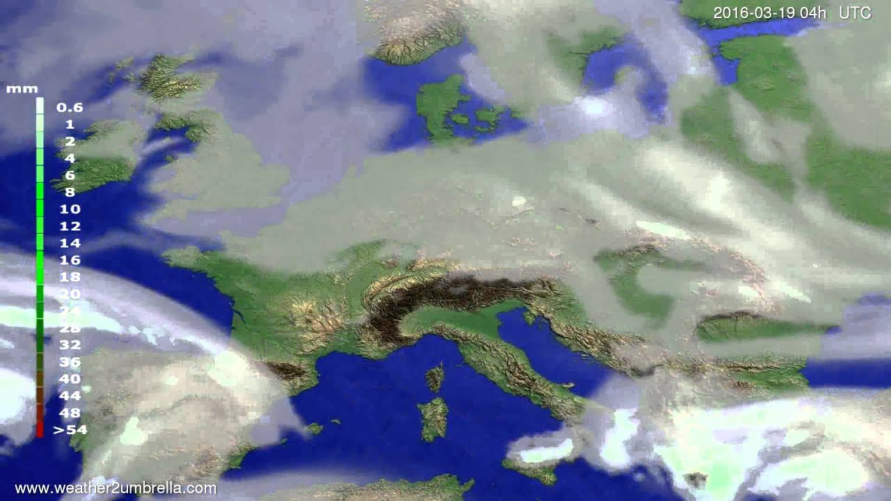 Precipitation forecast Europe 2016-03-15