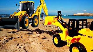 Мультики про Трактор и Экскватор. Рабочие машины чистят песок