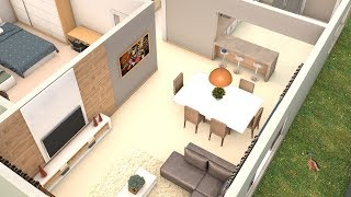 Modelo de planta de casa de 66 m 5x11 sketchup 3d 123vid for Casa moderna minimalista interior 6m x 12 50m