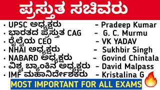 IMPORTANT OFFICE AND ORGANISATIONS HEAD  IN INDIA | RECENT APPOINTMENTS | KPSC FDA SDA PSI PC EXAM