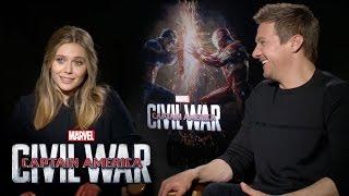 Elizabeth Olsen and Jeremy Renner on Marvel's Captain America: Civil War