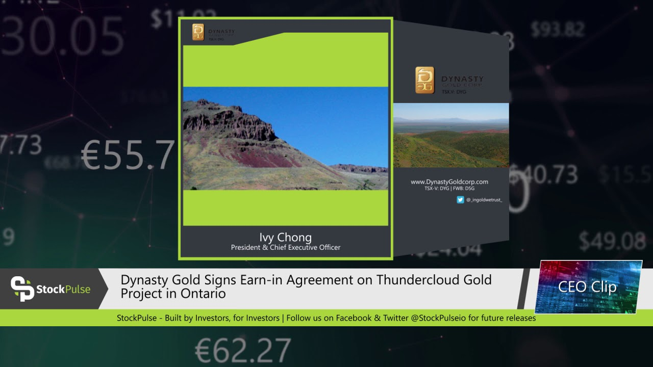 Dynasty Gold Signs Earn-in Agreement on Thundercloud Gold Project in Ontario