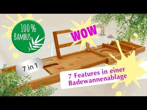 NEU Bambus Badewannenablage/Badewannenbrett – ganze 7 FEATURES in 1