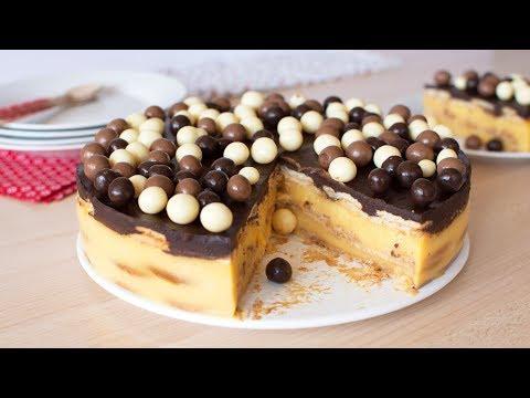 Tarta de la Abuela con Galletas, Flan y Chocolate | Postre facil y tradicional