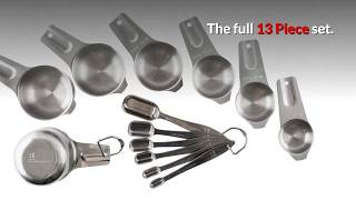 Stainless Steel Measuring Cups and Spoons Set - Heavy Duty 13 Piece Set Review
