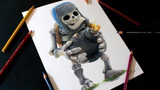 Como dibujo al Esqueleto Gigante de Clash Royale | How to draw Giant Skeleton