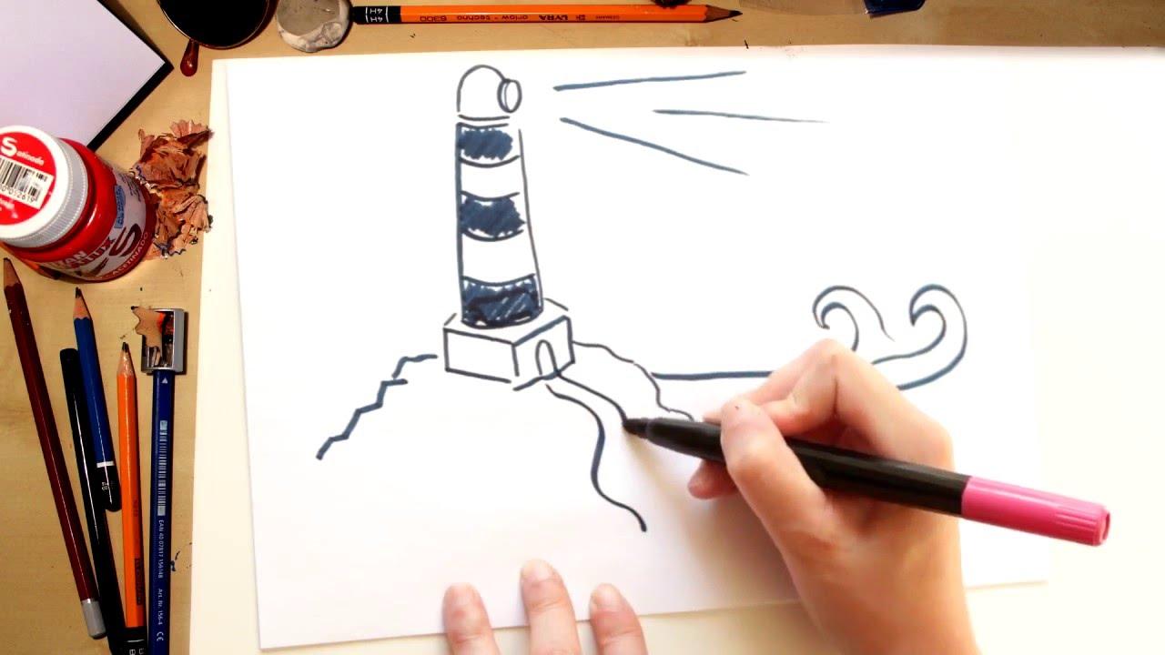 Como dibujar un Faro de la Playa - dibujos de verano