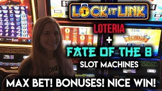 LOTERIA Slot Machine! FINALLY a Decent Lock it Link BONUS WIN! FATE of the 8 MAX Bet BONUS!