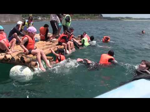 種子島の学校活動:星原小学校浜津脇漁港でのいかだ遊び2019年
