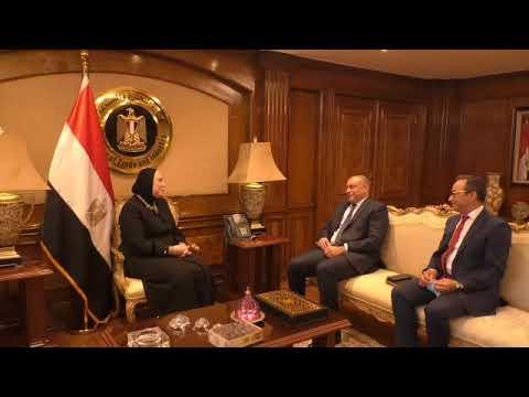 لقاء وزيرة التجارة والصناعة مع العضو المنتدب للتجاري وفا بنك في مصر