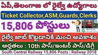 AP,Telangana South Central Railway 15,906 Posts | ASM,Guards,TC Update By Railway Minister | Career