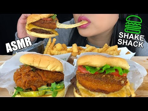 ASMR SHAKE SHACK EXTREMELY CHEESY SHROOM BURGER & CRISPY CHICKEN BURGER   EATING SOUNDS   ASMR PHAN