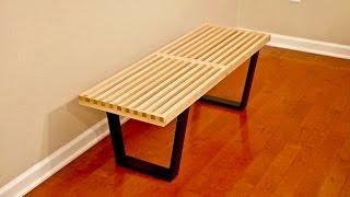DIY Mid-Century Modern Slatted Bench - Woodworking
