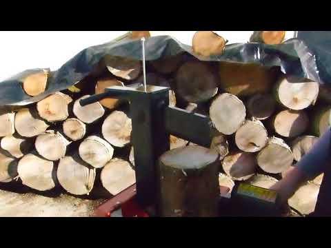 Greenbase / Juwel Holzspalter WL 8 Boss 230 Volt Lichtstrom Kurzholzspalter voll in Aktion