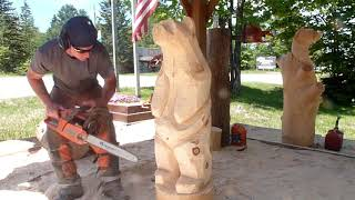 Lets Chainsaw Carving A Bear And Pick A Winner! Paradise Michigan!