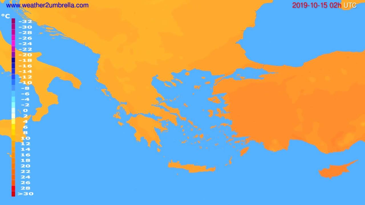 Temperature forecast Greece // modelrun: 12h UTC 2019-10-12