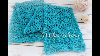 How To Crochet Lacy Fans Scarf, Easy Crochet Lace Scarf, Crochet Video Tutorial