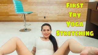 YOGA STRETCHING AT HOME / FIRST TRY/ #buhayamerika