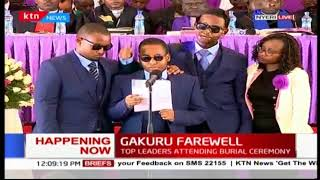 Wahome's youngest child gives a resounding send off message to his late dad, Wahome Gakuru