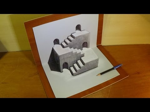 how to draw 3d stairs illusion 3d drawing tutorial