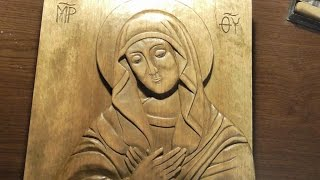 Woodcarving  Carved Icon Of Virgin Mary   Handmade Woodworking DIY
