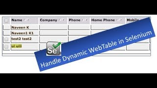 How to Handle Dynamic WebTable - WebDriver Session 14