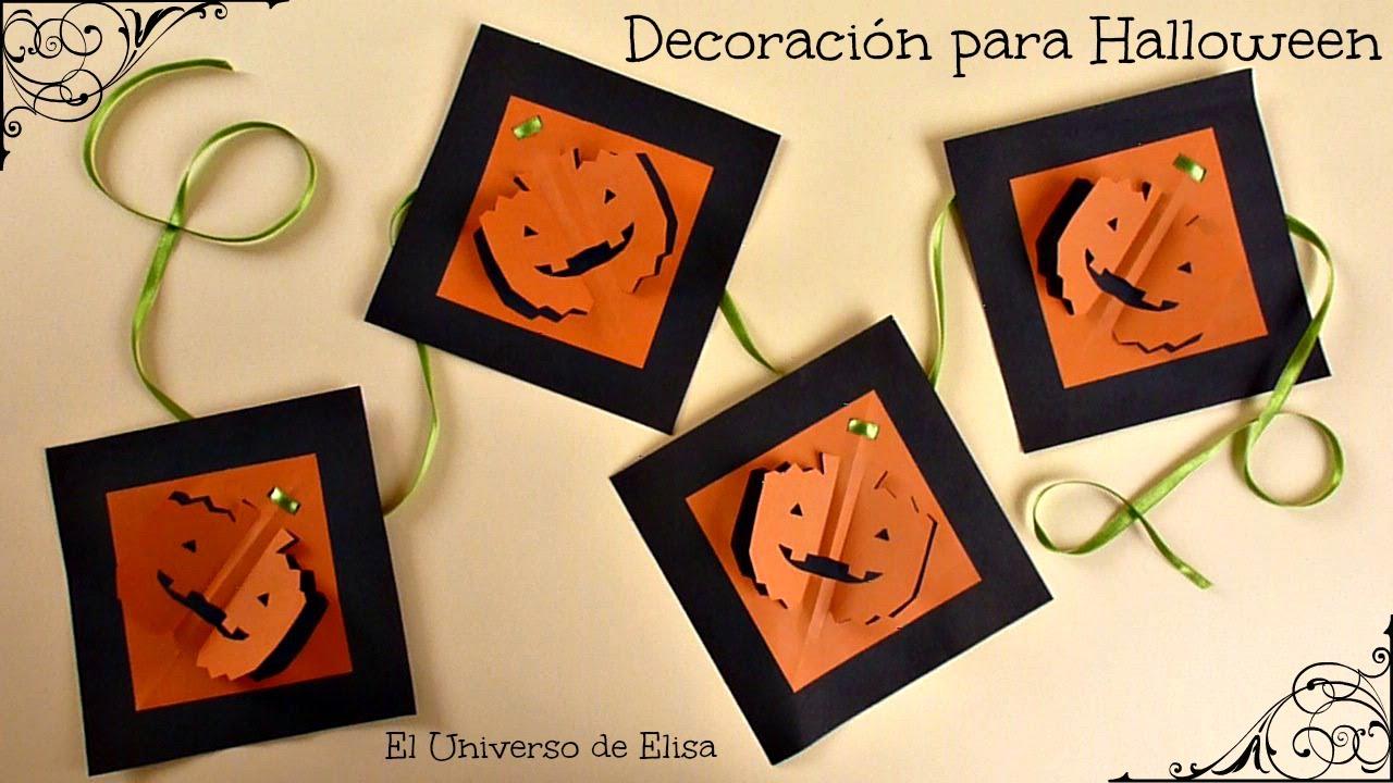 Decoración para Halloween y el Día de los Muertos, Guirnalda halloween Calabaza kirigami