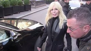 EXCLUSIVE - Fashion legend Donatella Versace and Kristina Bazan in Paris