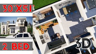Interior Home Design Plan 30x51 Feet With 2 Bedrooms || KK Home Design 2020