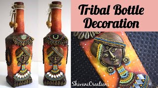 Tribal Bottle Decoration/ Glass Bottle Clay Art/ Best From Waste