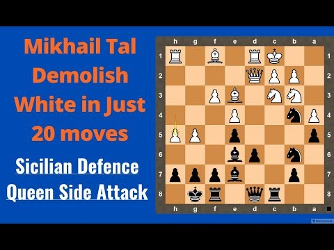 Mikhail Tal demolish white in Just 20 moves | Sicilian Defense with Usual Chess Tricks