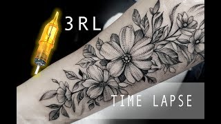HOW TO TATTOO FLOWERS - Blackwork Tattoo Time Lapse .