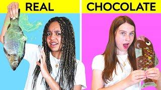 REAL FOOD VS CHOCOLATE FOOD CHALLENGE!!