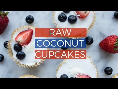 Video Raw Coconut Cupcakes | NO-BAKE HEALTHY VEGAN 4TH OF JULY RECIPE