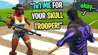 I let this kid 1v1 me for my PURPLE Skull Trooper skin on Fortnite... (EMOTIONAL)