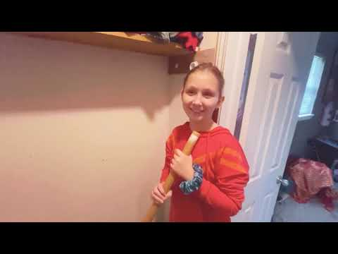 My daughter struggling to repair her closet.