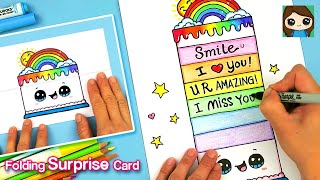Spread Love Cuties! 🌈❤️How to Make a Folding Rainbow Cake Pop Up Surprise Card