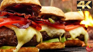 ULTIMATE Lamb Cheeseburgers! - Forest ASMR Cooking 4K