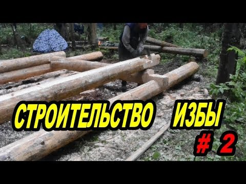 Строительство избы # 2 .Ставим сруб.Construction of the hut # 2 .Put the frame